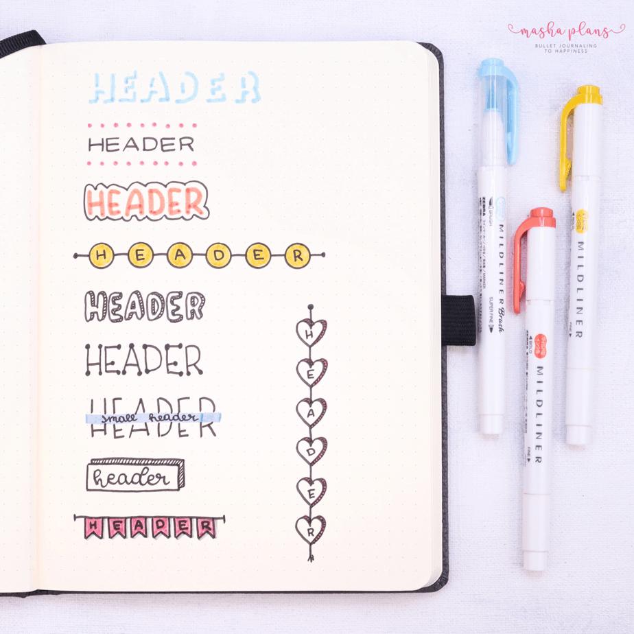 21 Easy Bullet Journal Headers: Step By Step Tutorial | Masha Plans