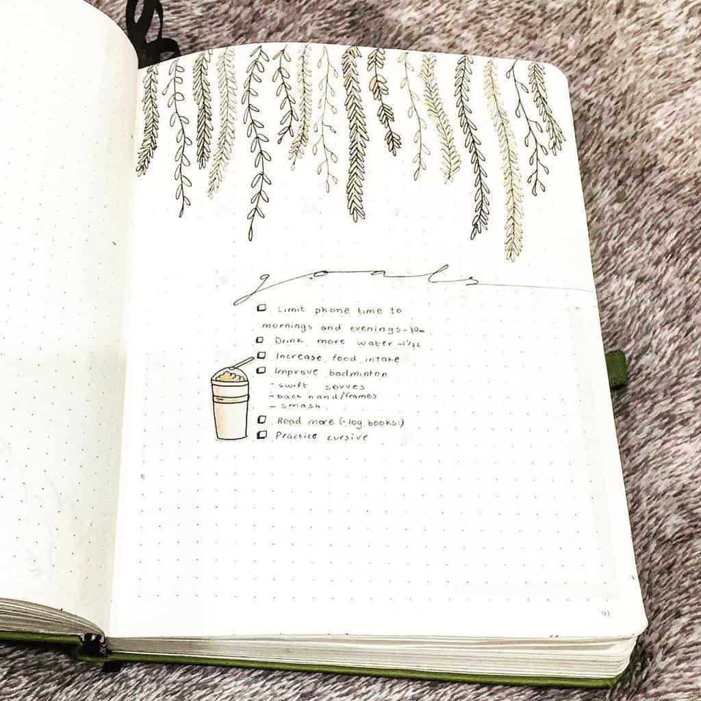 How To Set Goals In Your Bullet Journal, spread by @cactus.journals | Masha Plans