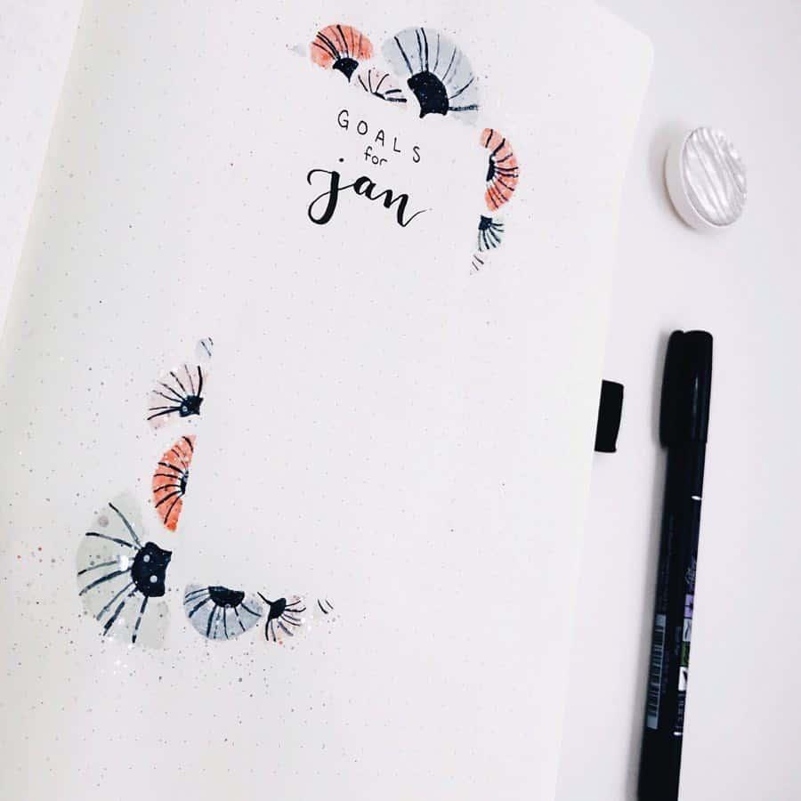 Goals Bullet Journal spread by @_coffeeandsarcasm_ | Masha Plans