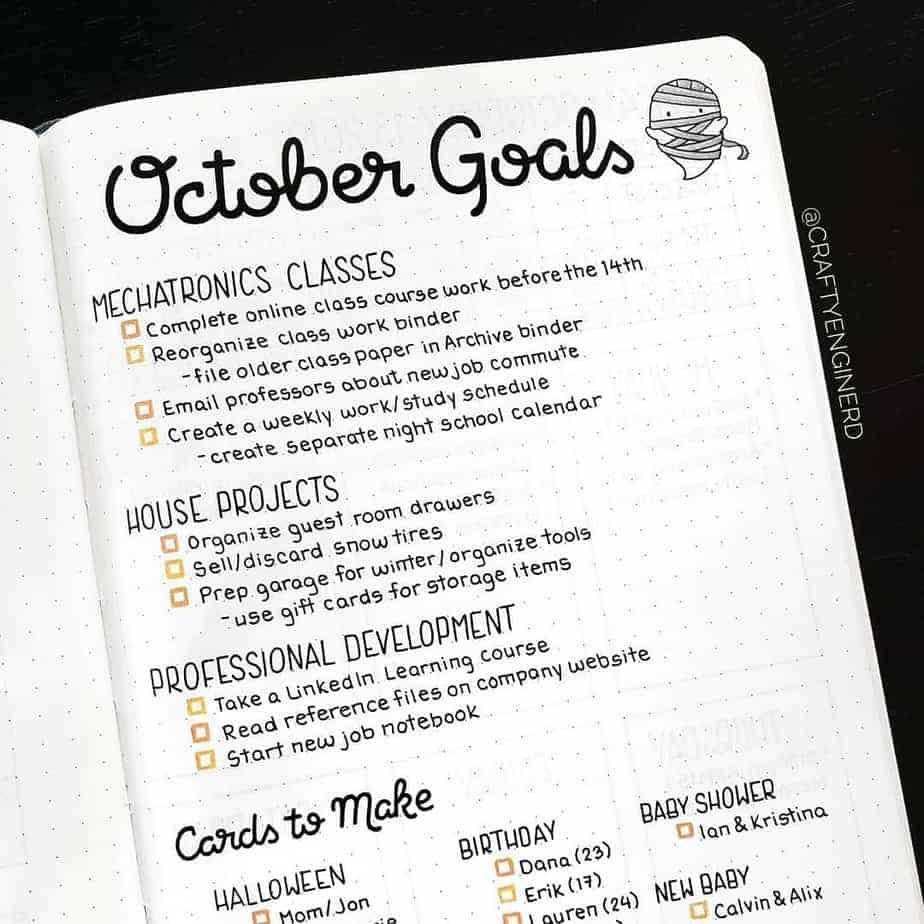 Goals Bullet Journal spread by @craftyenginerd | Masha Plans
