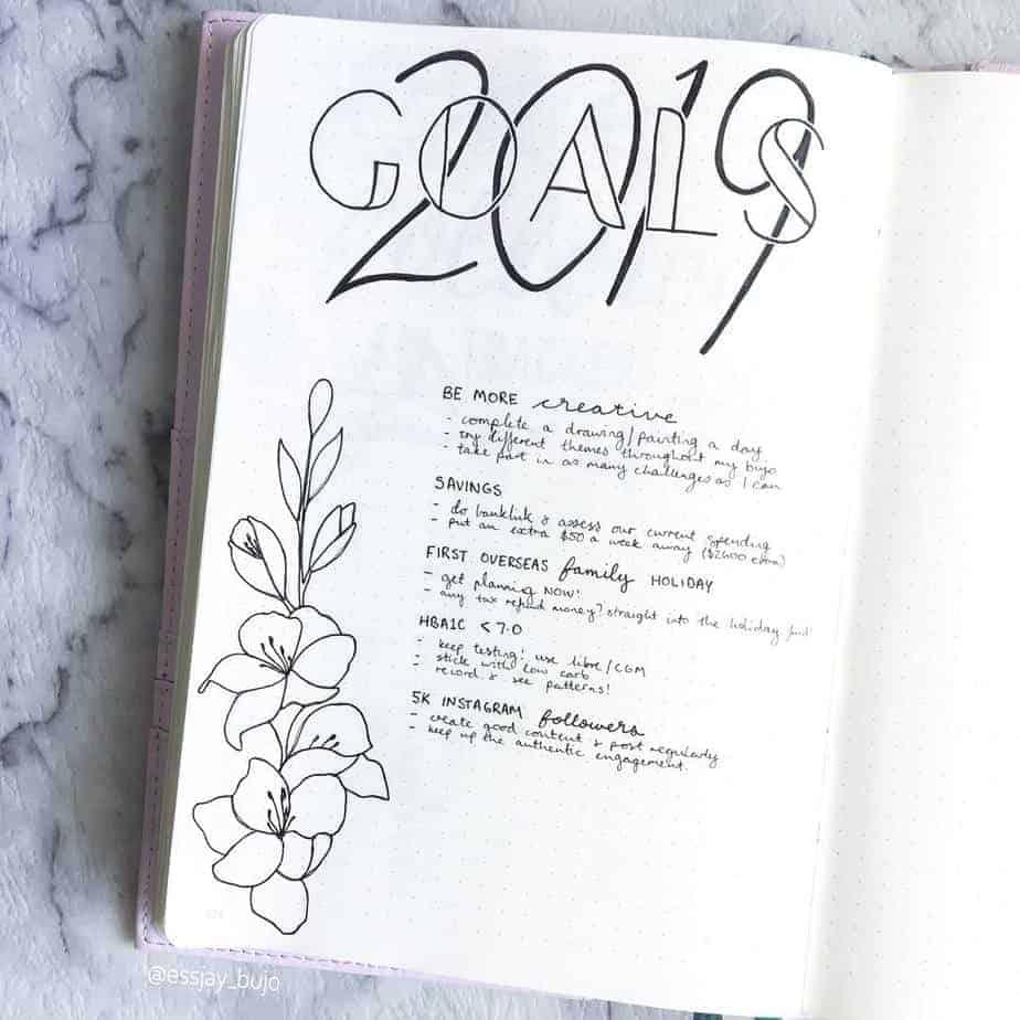 Goals Bullet Journal Spread by @essjay_florals | Masha Plans