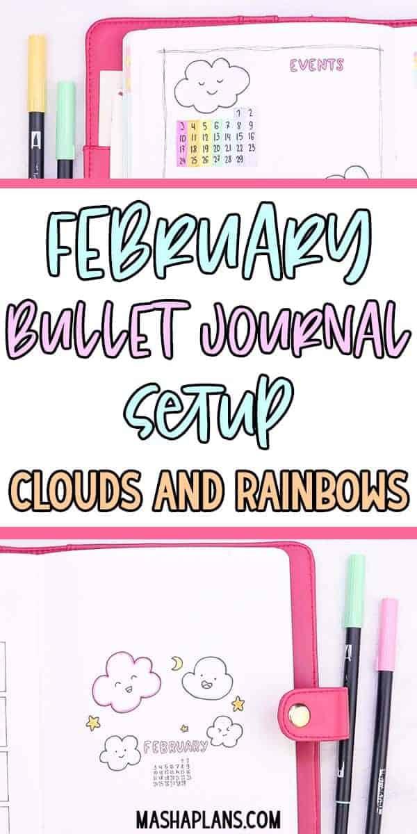 February Bullet Journal Setup - Clouds Theme | Masha Plans