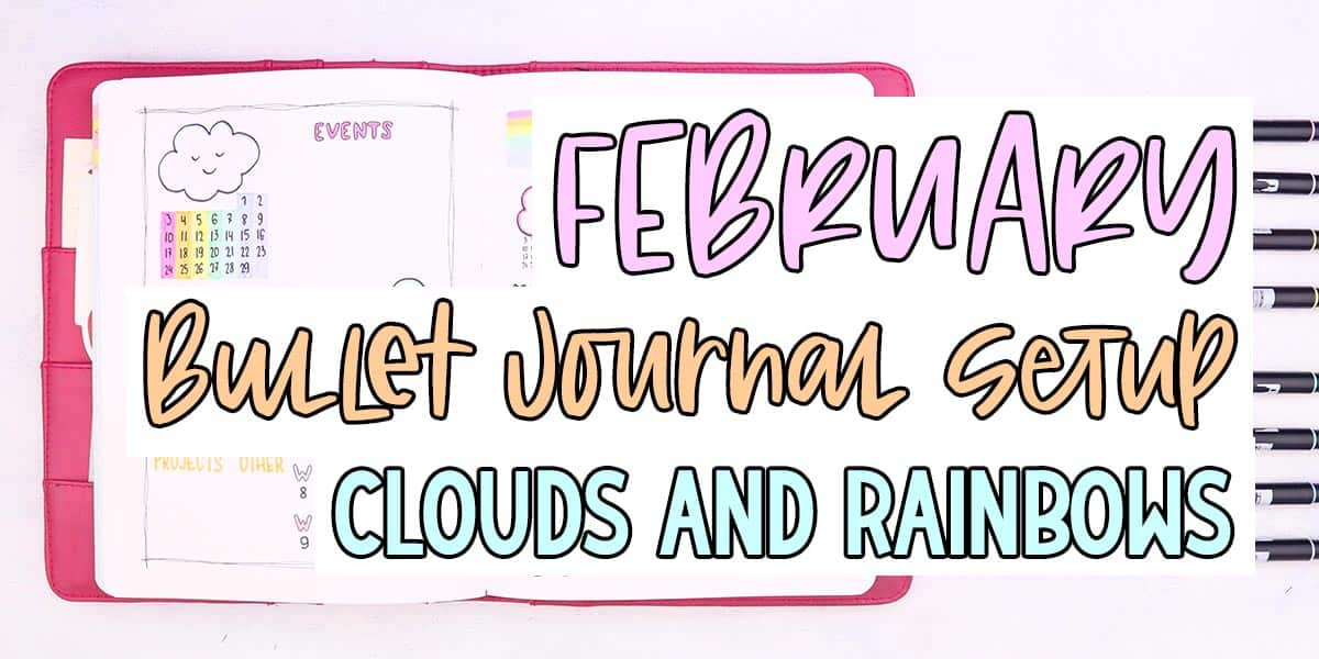 February Bullet Journal Setup - Clouds Theme | Masha Plans