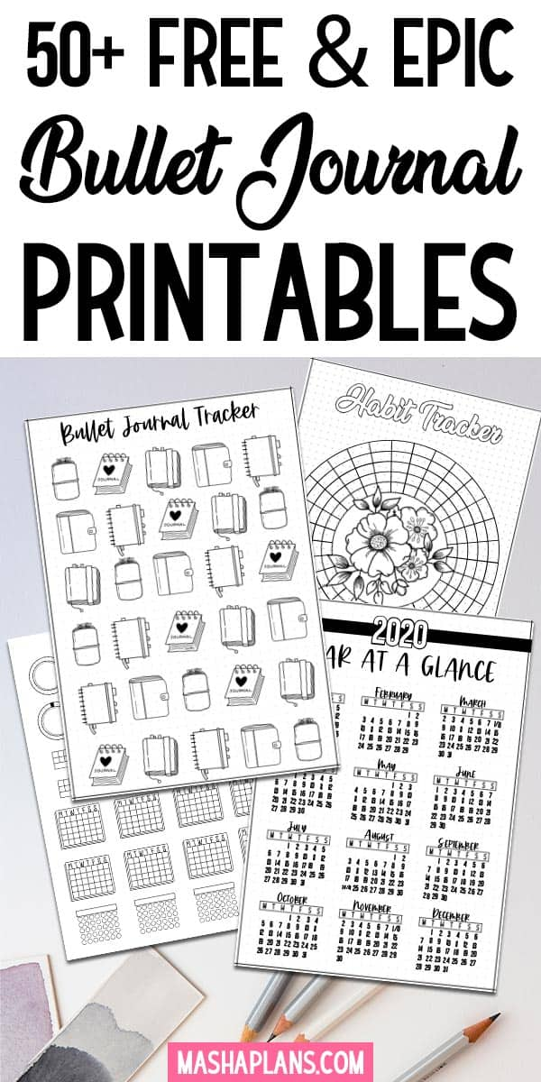 50+ FREE Bullet Journal Printables | Masha Plans