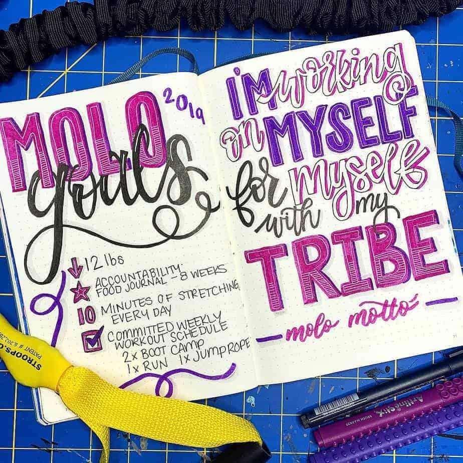Goals Bullet Journal Spread by @kristylingebach | Masha Plans