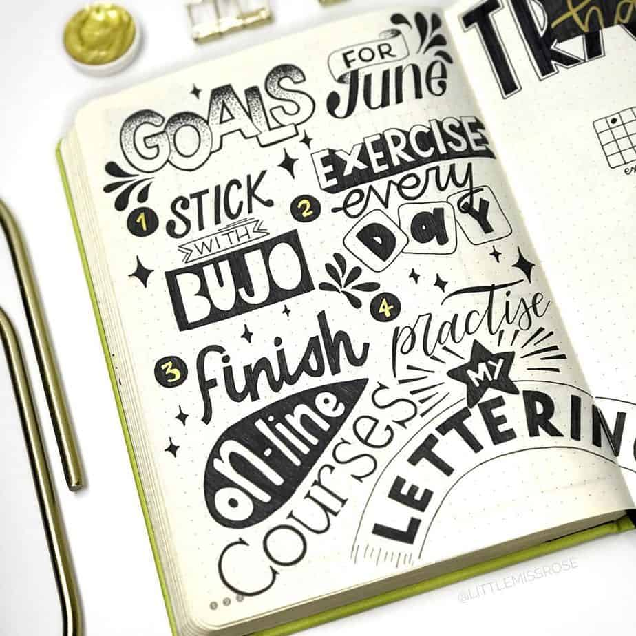 Goals Bullet Journal Spread by @littlemissrose | Masha Plans