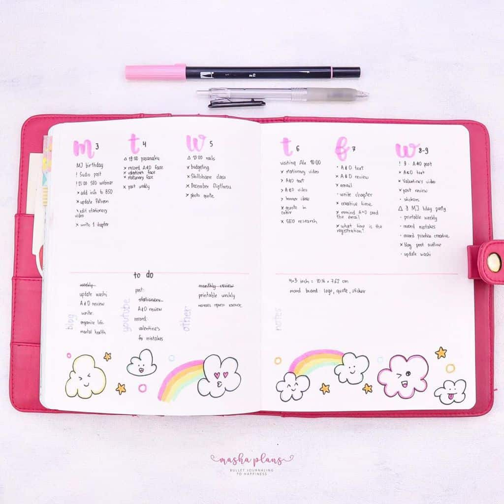February Bullet Journal Setup - Clouds Theme - weekly spread | Masha Plans