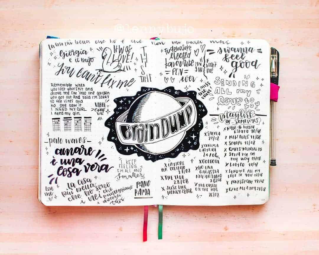 Brain Dump Bullet Journal Spread by @lennydoesthings | Masha Plans