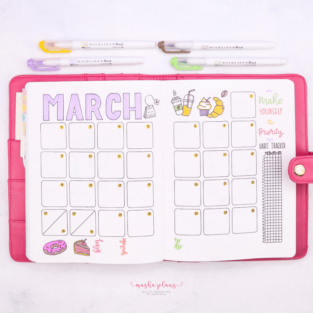 March Plan With Me: Self care theme - monthly log | Masha Plans