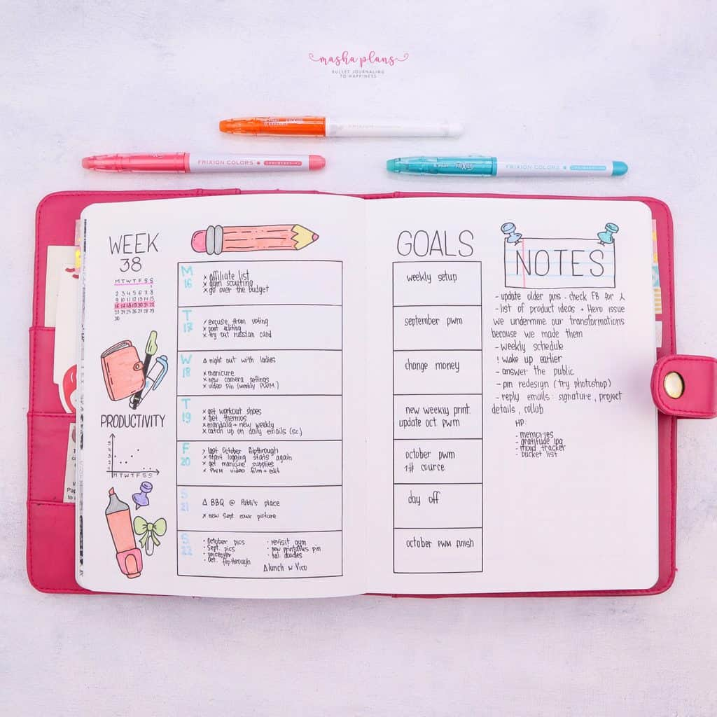 Bullet Journal Weekly SPread To Spyrocket Your Productivity | Masha Plans