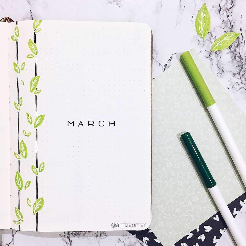 Spring Bullet Journal Theme Ideas - cover page by @amizaomar | Masha Plans