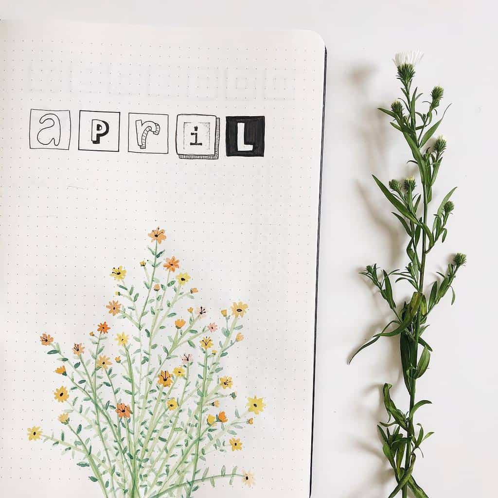 Spring Bullet Journal Theme Ideas - cover page by @bujostephf | Masha Plans