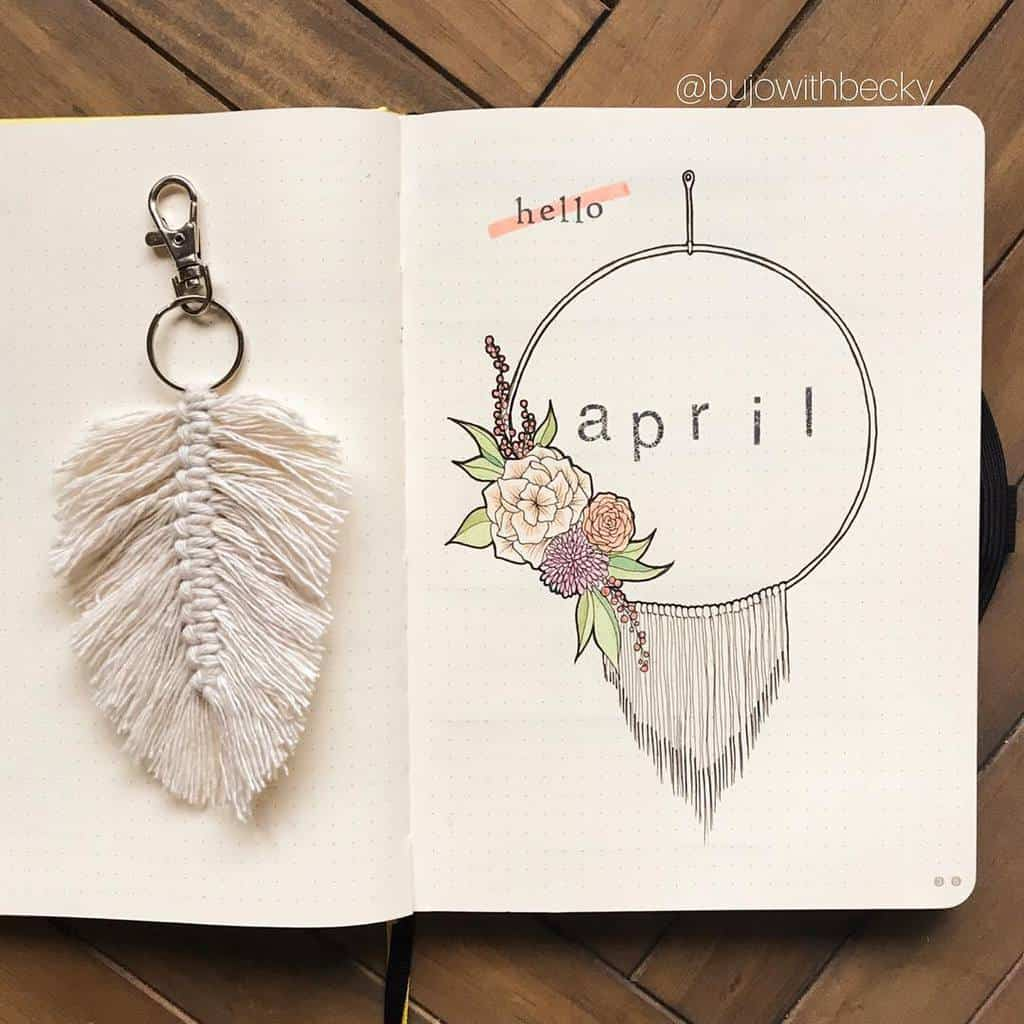 Spring Bullet Journal Theme Ideas - cover page by @bujowithbecky | Masha Plans