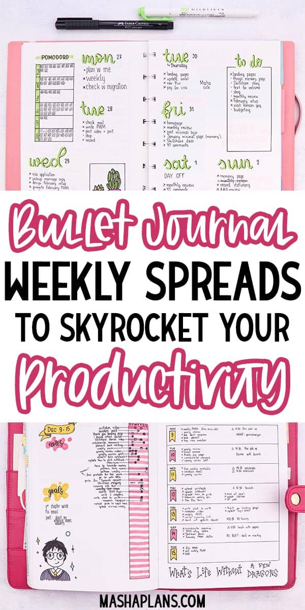 Bullet Journal Weekly Spreads To Skyrocket Your Productivity | Masha Plans