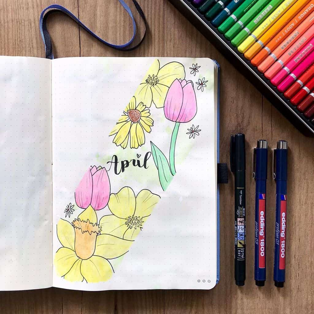 Spring Bullet Journal Theme Ideas - cover page by @fenkesjournal | Masha Plans