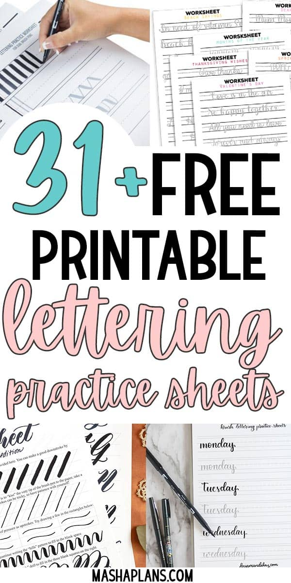 31+ Free Printable Lettering Practice Sheets | Masha Plans