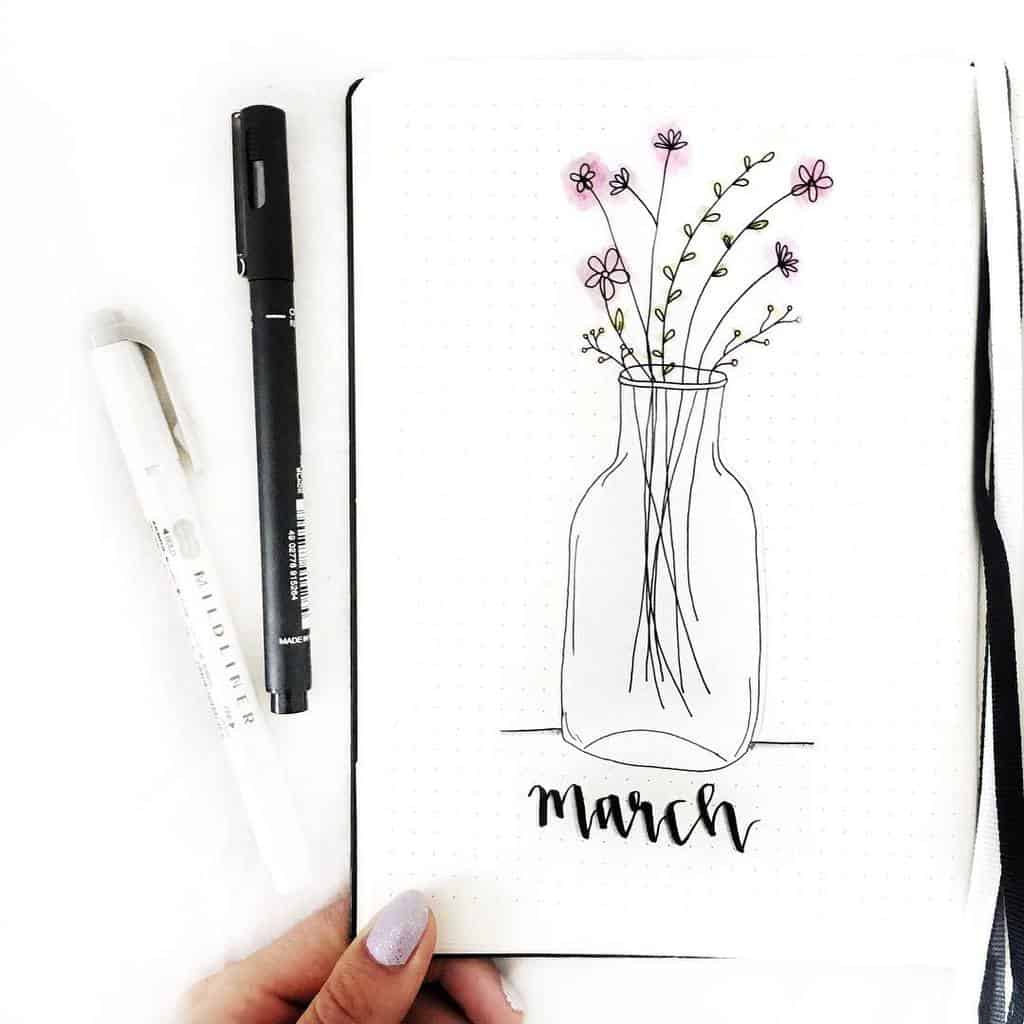 Spring Bullet Journal Theme Ideas - cover page by @handmadebyjesslee | Masha Plans