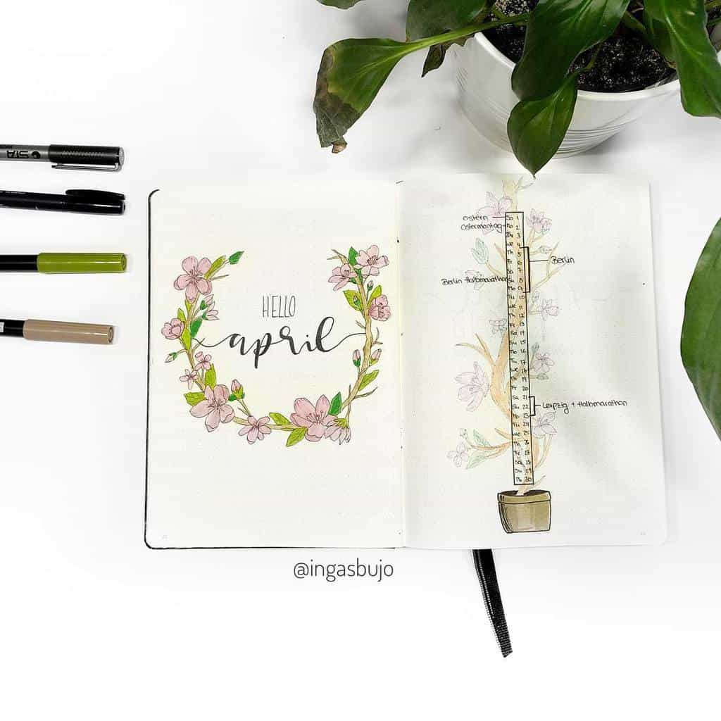Spring Bullet Journal Theme Ideas - cover page by @ingasbujo | Masha Plans