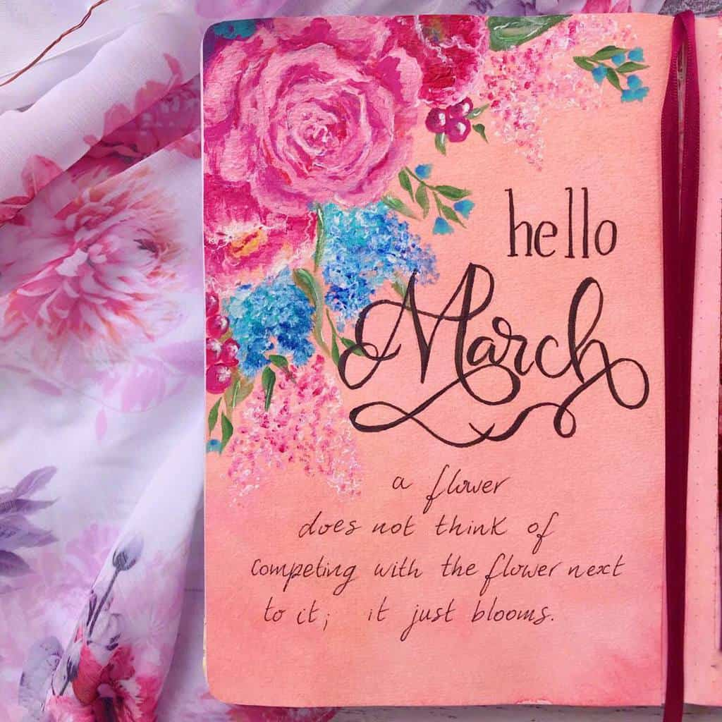 Spring Bullet Journal Theme Ideas - cover page by @instaliddy | Masha Plans