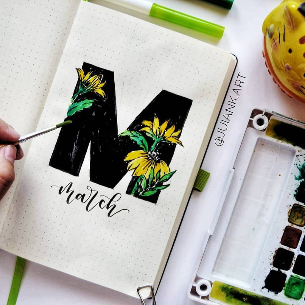 Spring Bullet Journal Theme Ideas - cover page by @juiank.art | Masha Plans