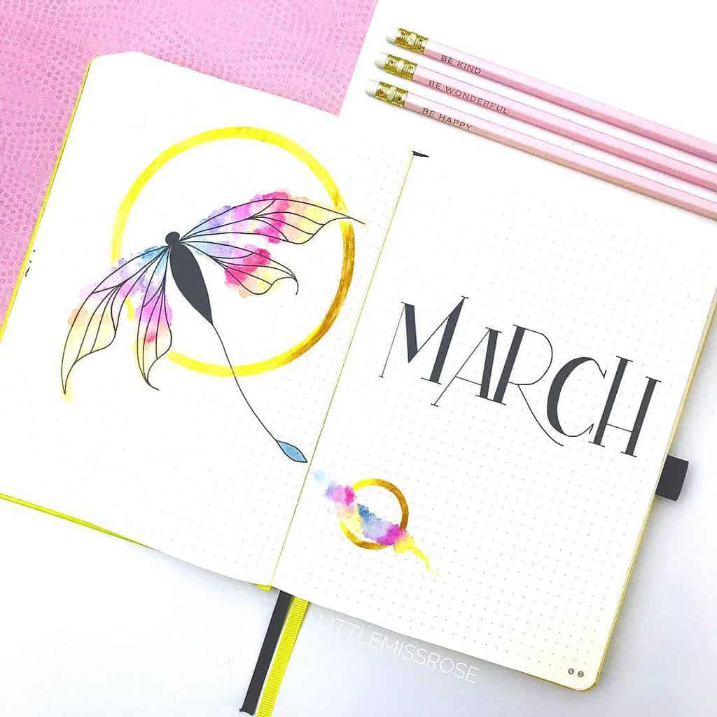 Spring Bullet Journal Theme Ideas - cover page by @littlemissrose | Masha Plans