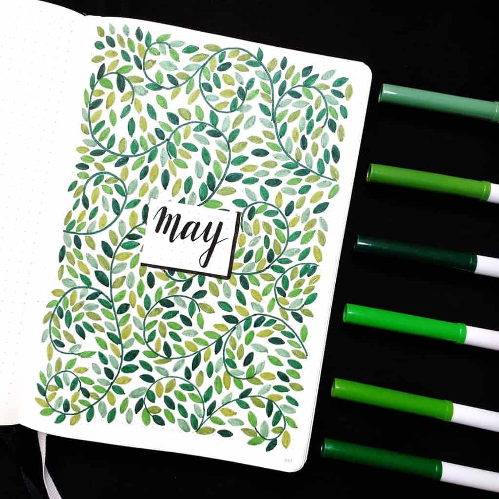 Spring Bullet Journal Theme Ideas - cover page by @seala.bujo | Masha Plans