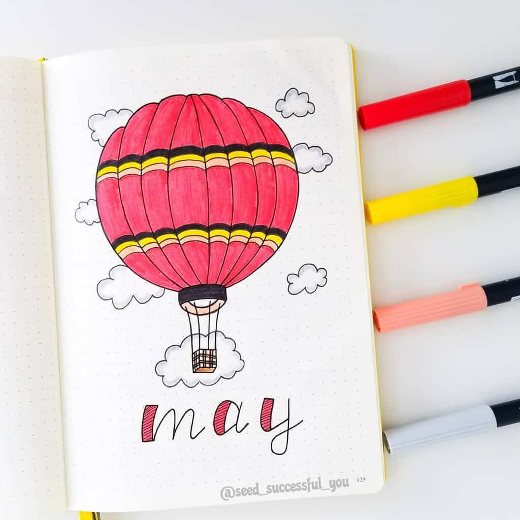 Spring Bullet Journal Theme Ideas - cover page by @seed_successful_you | Masha Plans