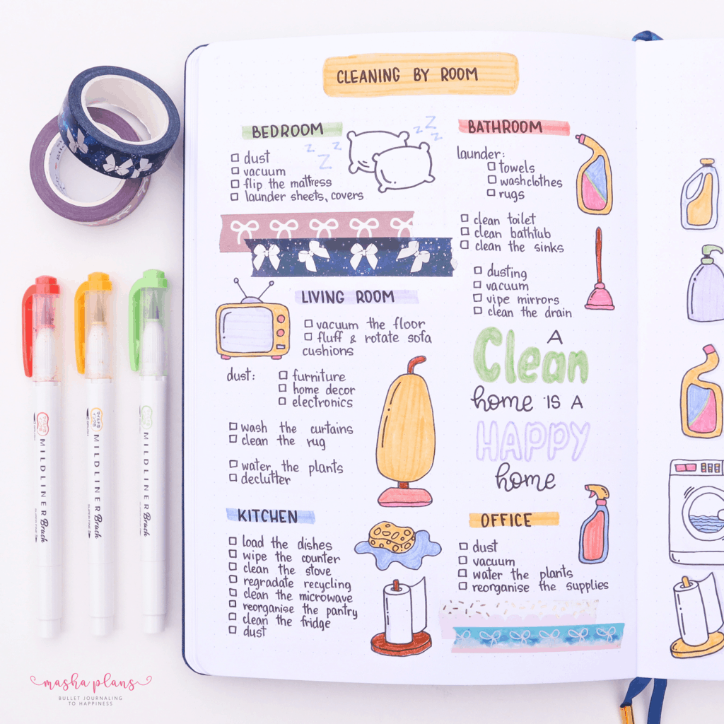 Bullet Journal Cleaning Tracker | Masha Plans