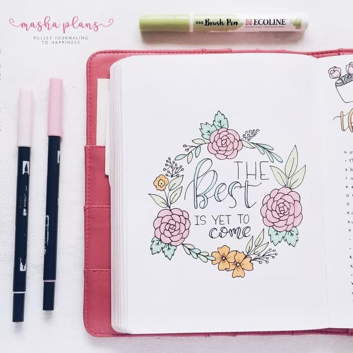 Spring Bullet Journal theme ideas - floral quote page | Masha Plans