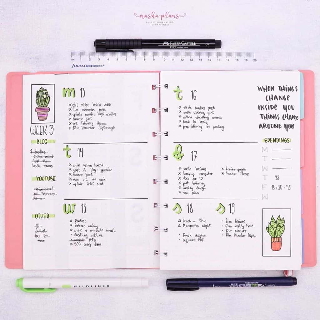 Succulent weekly Bullet Journal spread | Masha Plans