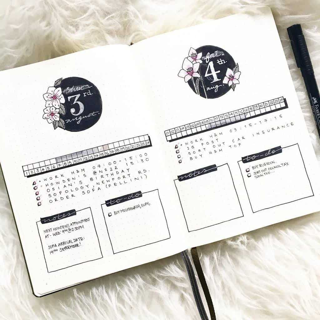 Bullet Journal Time Log by @bujowithbecky | Masha Plans