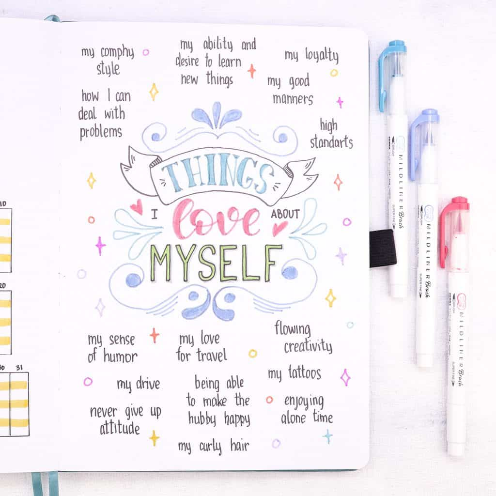 Bullet Journal For Mental Health - things i love about myself | Masha Plans