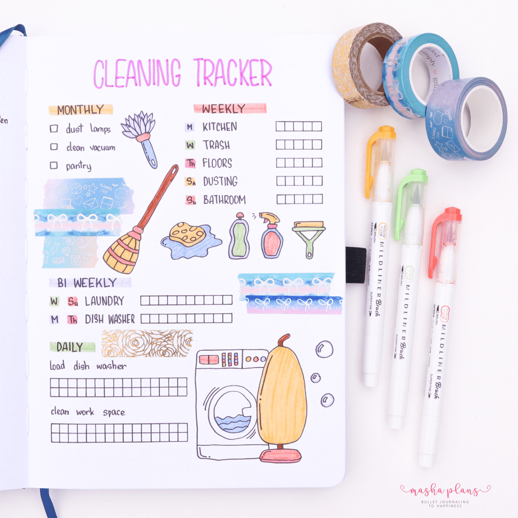 25 Monthly Bullet Journal Page Ideas, cleaning tracker | Masha Plans