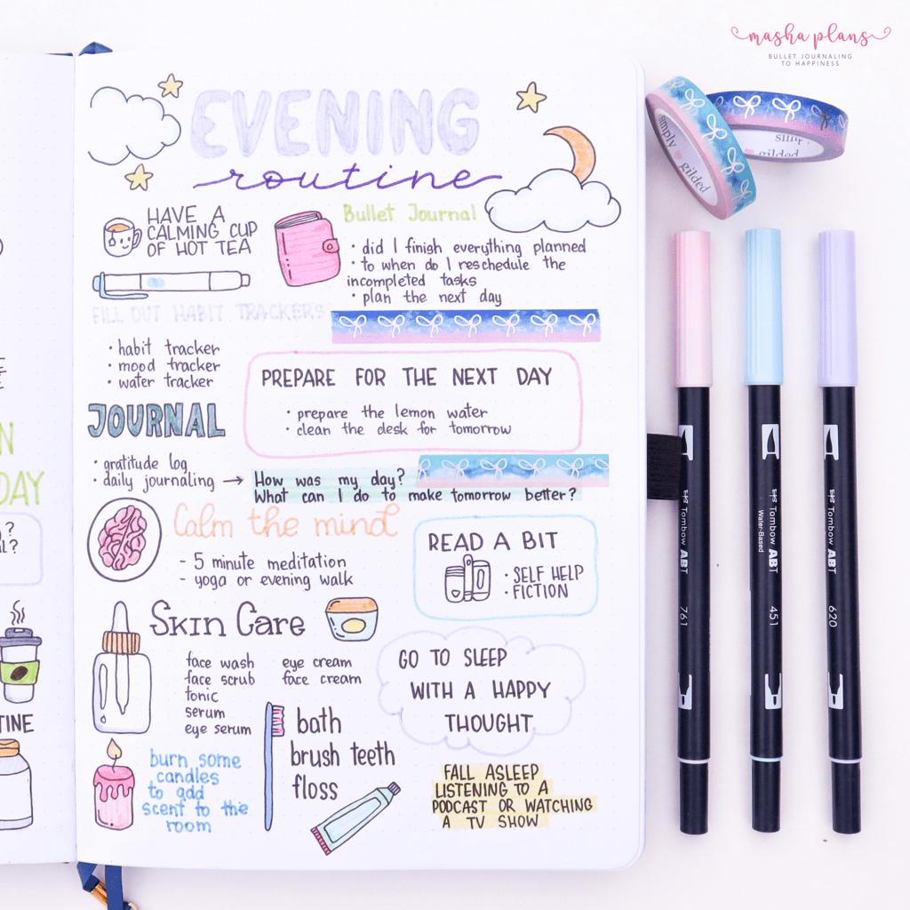 25 Monthly Bullet Journal Page Ideas, evening routine | Masha Plans