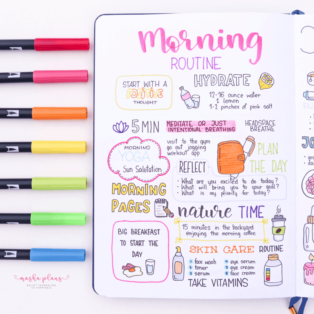 25 Monthly Bullet Journal Page Ideas, morning routine | Masha Plans