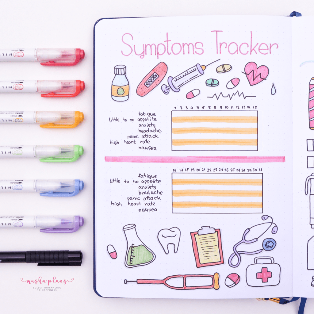 25 Monthly Bullet Journal Page Ideas, symptoms tracker | Masha Plans