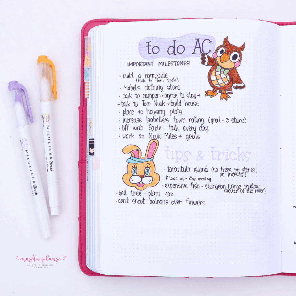 Animal Crossing Bullet Journal Inspirations - tips and tricks | Masha Plans