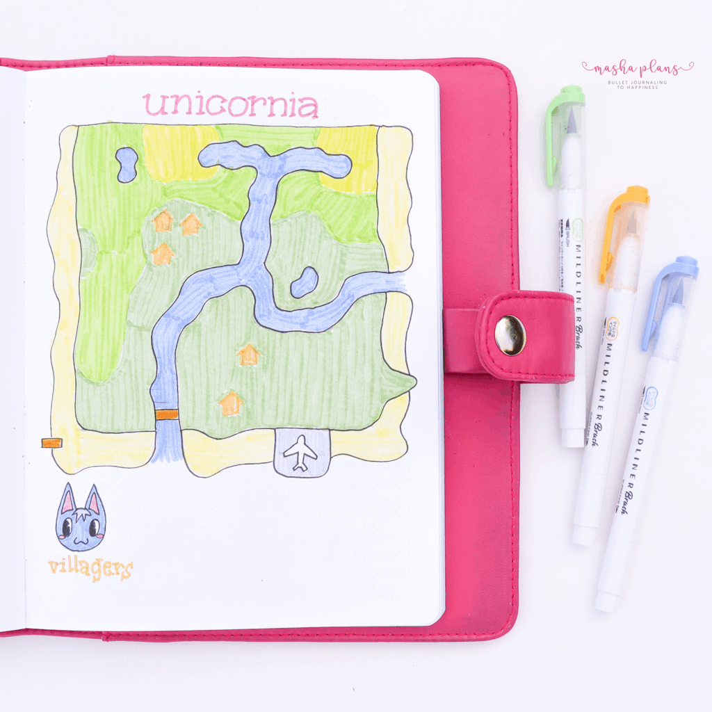 Animal Crossing Bullet Journal Inspirations - island map | Masha Plans