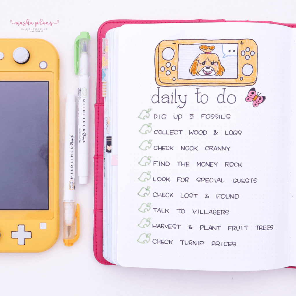Animal Crossing Bullet Journal Inspirations - daily to-do list | Masha Plans