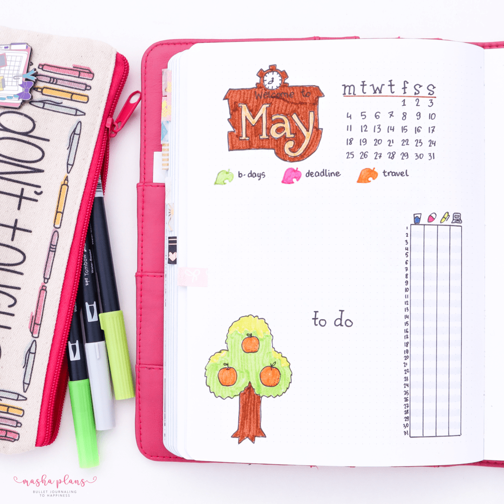 Animal Crossing Bullet Journal Inspirations - monthly log | Masha Plans