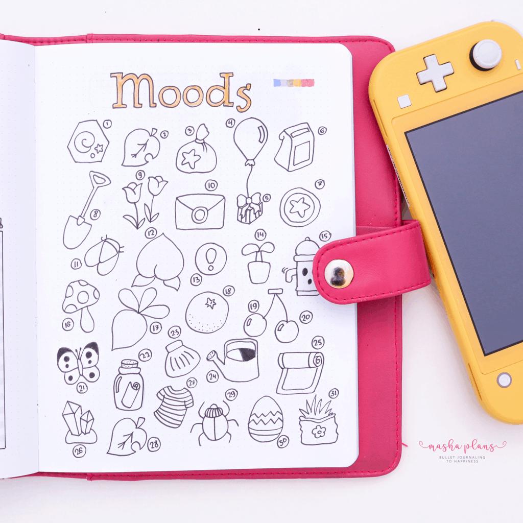 Animal Crossing Bullet Journal Inspirations - mood tracker | Masha Plans