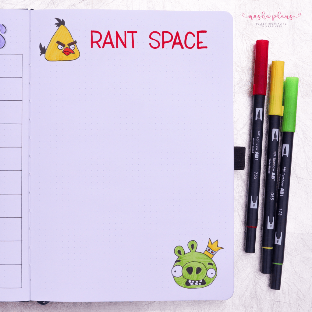 Bullet Journal For Mental Health - rant space | Masha Plans