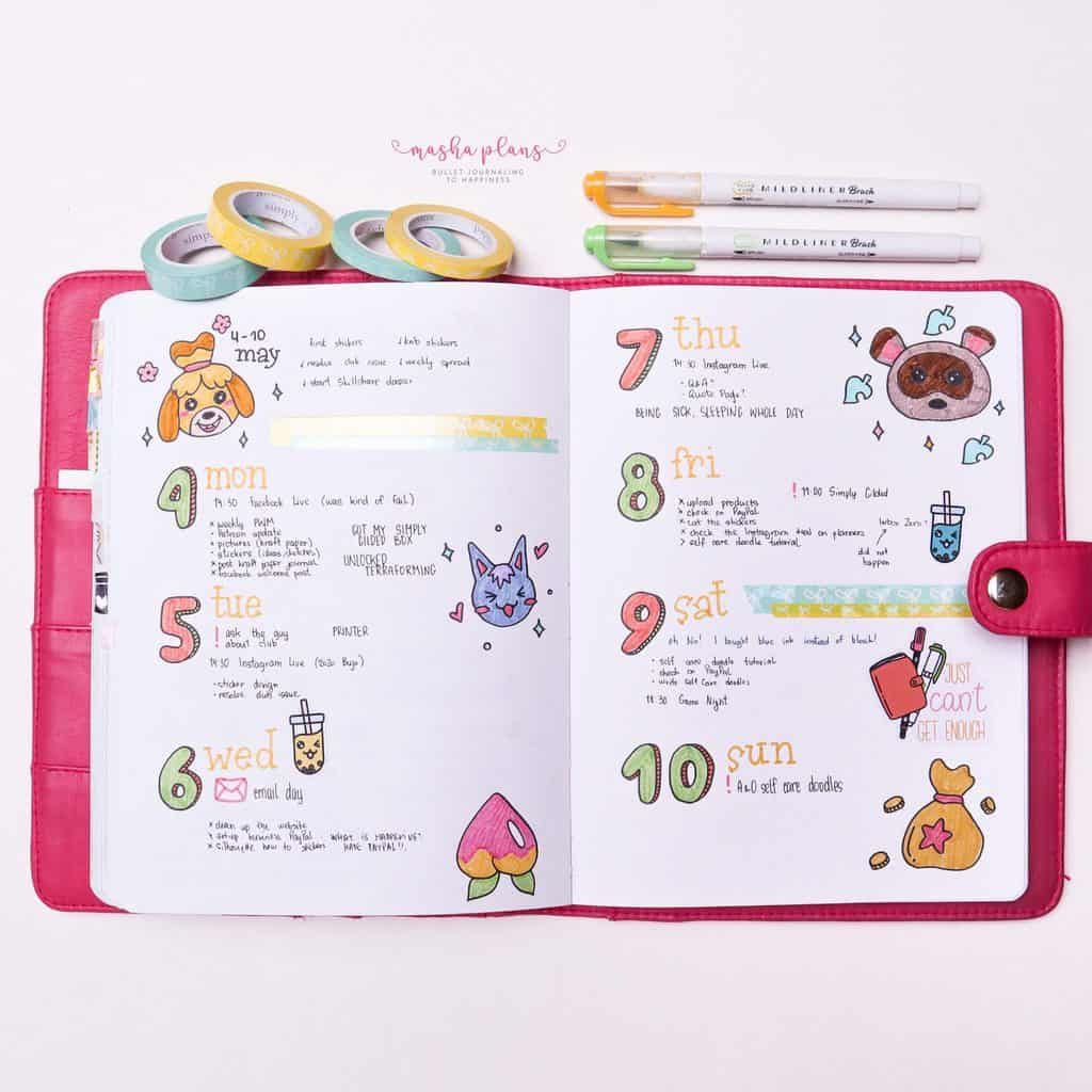 Animal Crossing Themed Bullet Journal Weekly | Masha Plans