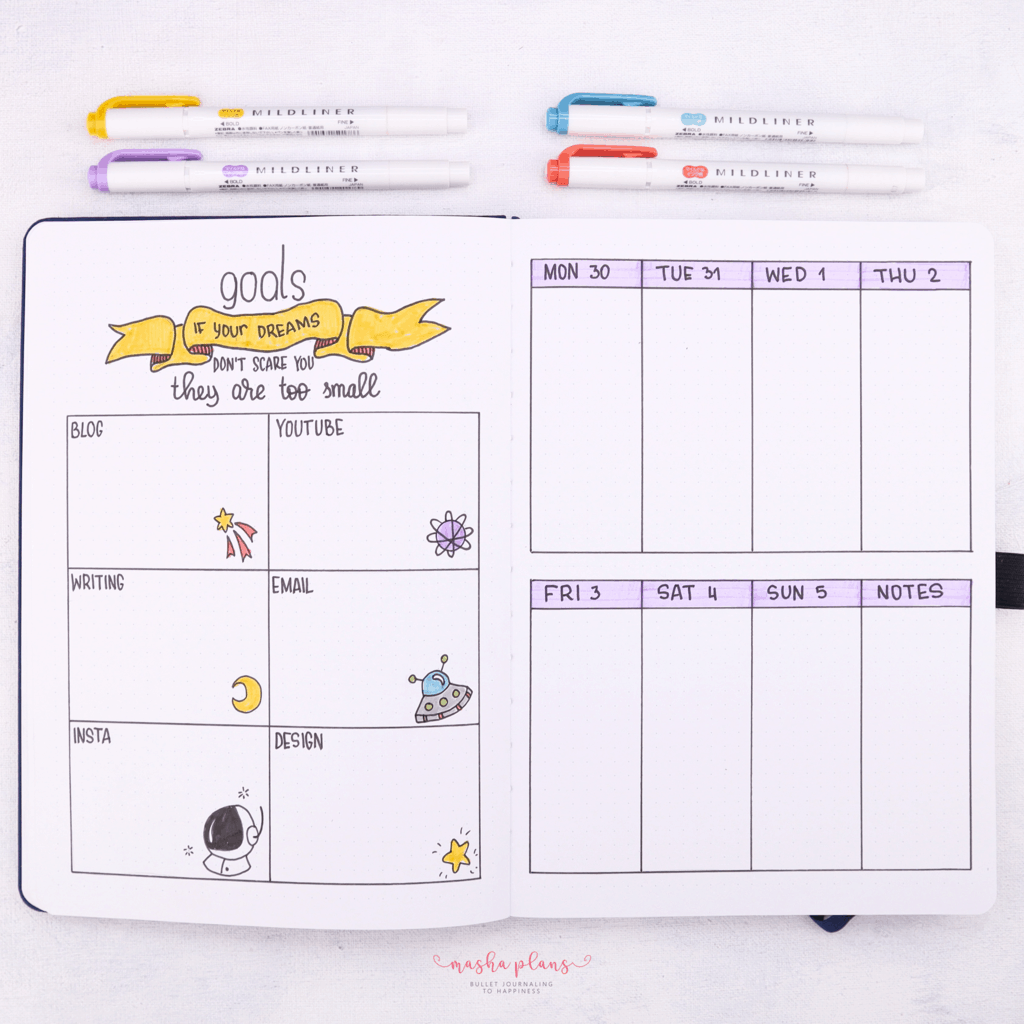 Monthly Bullet Journal Page Ideas, goals spread | Masha Plans