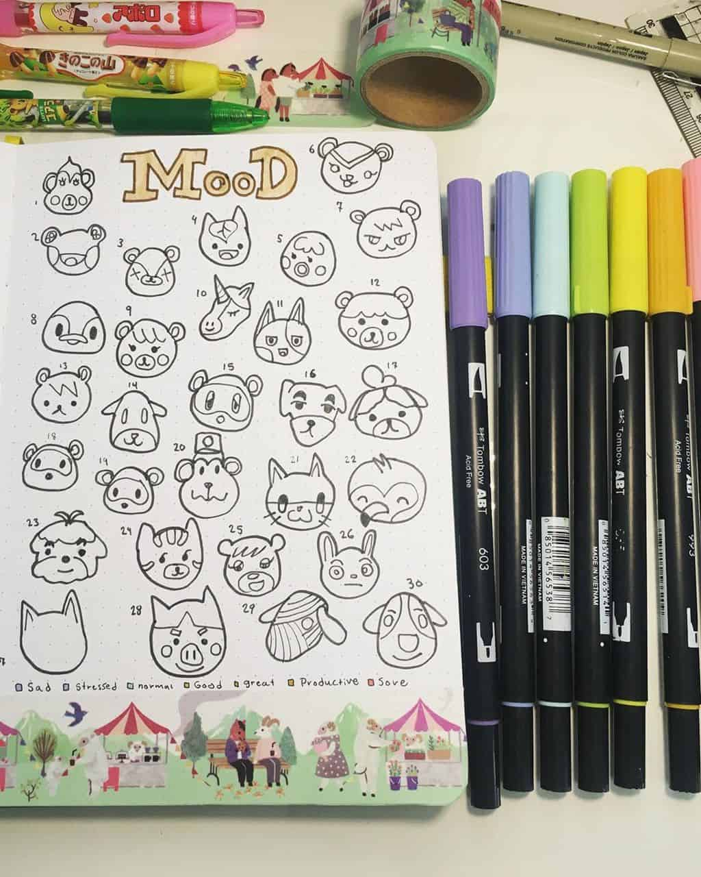 Animal Crossing Bullet Journal Inspirations - habit tracker by @bobas_bujo | Masha Plans