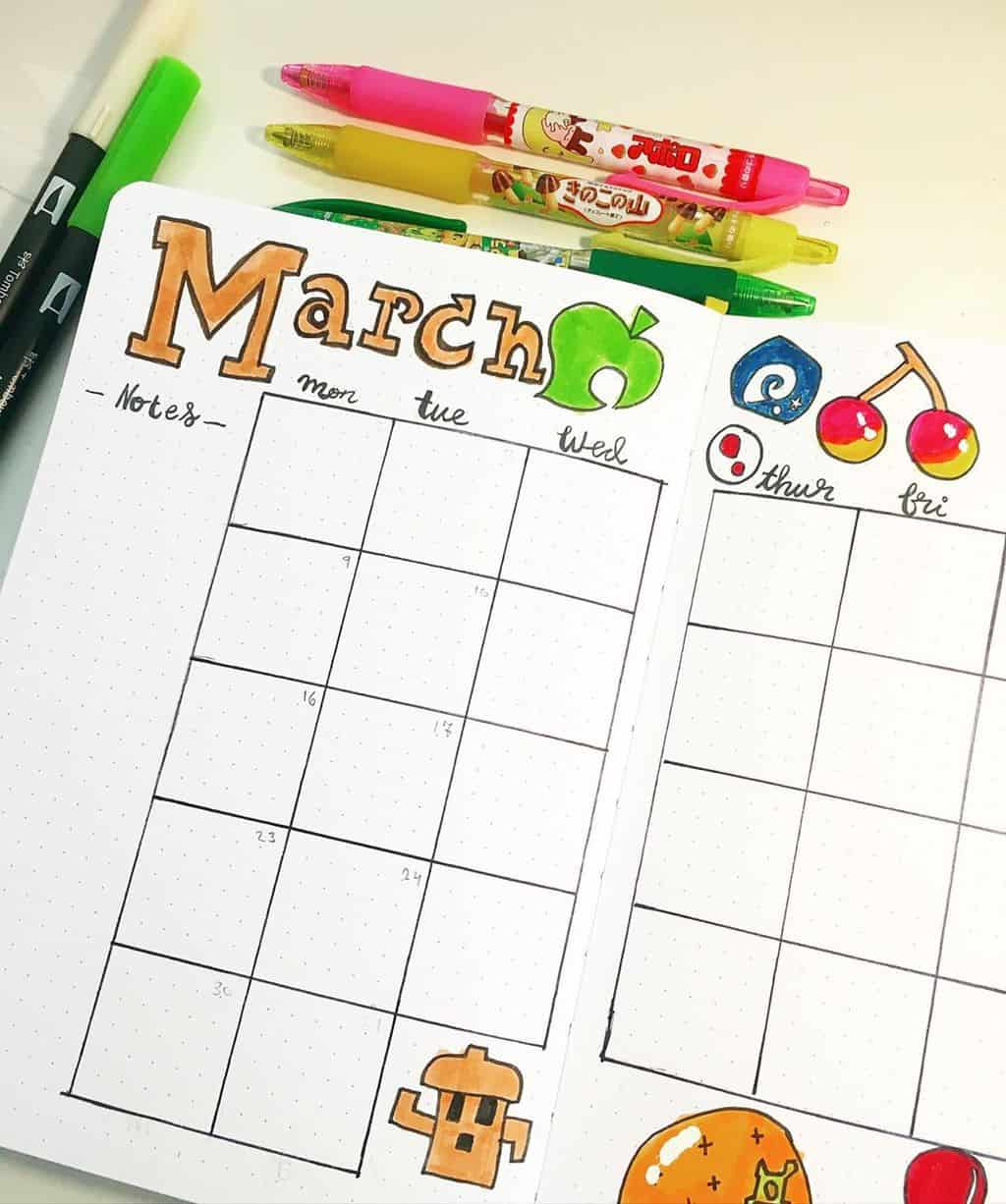 Animal Crossing Bullet Journal Inspirations - monthly log by @bobas_bujo | Masha Plans
