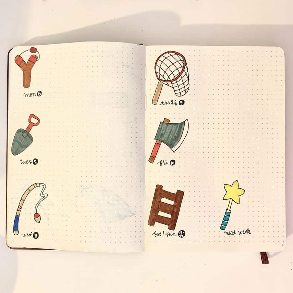 Animal Crossing Bullet Journal Inspirations - weekly log by @bobentto | Masha Plans