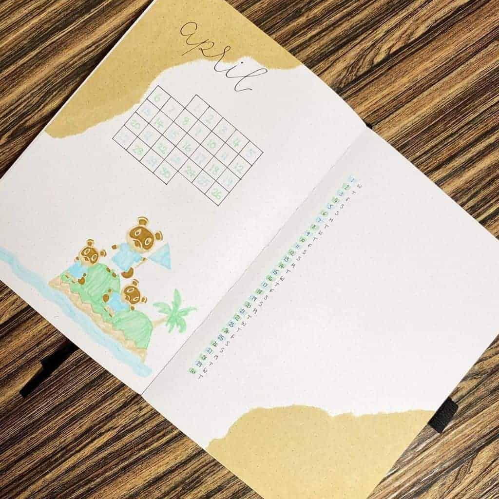Animal Crossing Bullet Journal Setup - monthly log by @bujo_kieks | Masha Plans