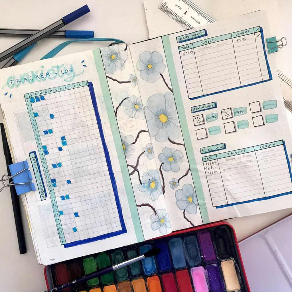 Bullet Journal For Mental Health - anxiety tracker by @bulletingmyjournal | Masha Plans