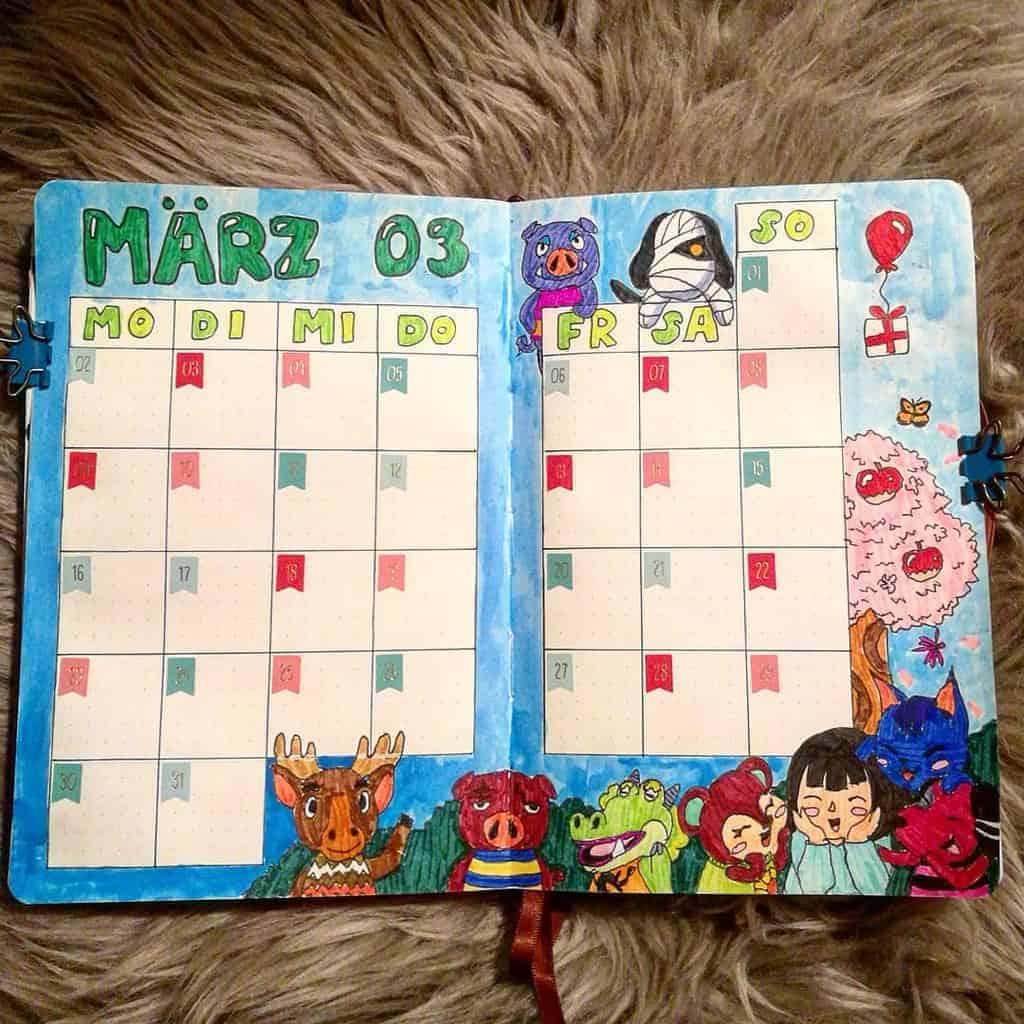 Animal Crossing Bullet Journal Inspirations - monthly log by @celinehampel | Masha Plans